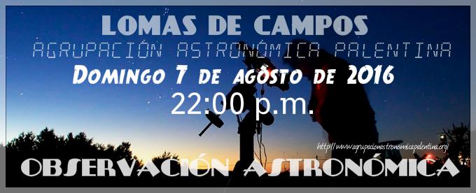 Domingo, 7 de agosto; Observación Astronómica